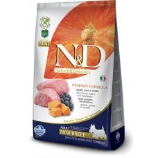 N&D GRAIN FREE PUMPKIN LAMB & BLUEBERRY ADULT MINI - пълноценна храна с тиква за кучета в зряла възраст над 1 година от дребните породи с агне и боровинки 2,5 кг