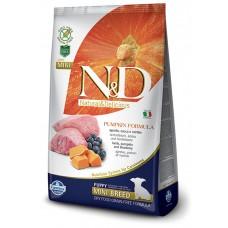 N&D GRAIN FREE PUMPKIN LAMB & BLUEBERRY - PUPPY MINI – пълноценна храна с тиква, БЕЗ ЗЪРНО, за подрастващи кучета от дребните породи с агне и боровинки, бременни или кърмещи кучета 2,5 кг