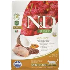 N&D CAT GRAIN FREE QUINOA SKIN & COAT QUAIL, COCONUT – за чувствителен стомах, лъскава козина и здрава кожа, за котки над 1 година, с пъдпъдъче месо, киноа, кокос и куркума - 1500 гр