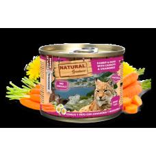 NATURAL Greatness Rabbit and Duck with Carrots and Chamomile - Заек и патица с моркови и лайка - Хипоалергенна консерва за котки, без зърнени култури, 200 гр, Испания NGC2001