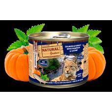NATURAL Greatness Salmon and Turkey with Pumpkin and Cat Mint - Сьомга и пуйка с тиква и котешка мента - Хипоалергенна консерва за котки, без зърнени култури, 200 гр, Испания NGC2002