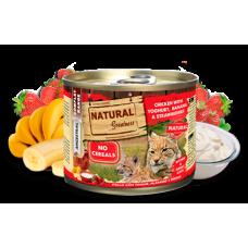 NATURAL Greatness Chicken with Yogurt, Banana and Strawberries - Пиле с кисело мляко, банан и ягоди - Хипоалергенна консерва за котки, без зърнени култури, 200 гр, Испания NGC2003