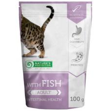 Nature's Protection CAT Fish Intestinal Health, пауч с риба за пораснали котки с чувствителна храносмилателна система, Литва - 100 гр