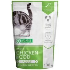 Nature's Protection CAT Chicken & Cod Urinary Health, пауч с риба (треска) и пиле за пораснали котки, за подпомагане поддържането на функциите на уринарната система, Литва - 100 гр