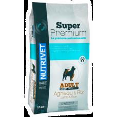 Nutrivet Super Premium LAMB & RICE ADULT DOGS - храна за пораснали кучета от всички породи, с алергии или проблемен стомах, с агнешко месо, БЕЗ ГЛУТЕН, Франция - 15 кг