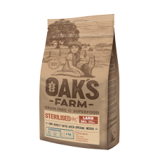 Oaks Farm Grain Free Lamb Sterilized Adult Cat - пълноценна храна без зърнени култури с агне за кастрирани котки над 1 година, 18 кг, Литва - ОАК46291