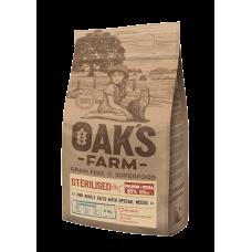Oaks Farm Grain Free Salmon with Krill Sterilized Adult Cat - пълноценна храна без зърнени култури, със сьомга и крил за кастрирани котки над 1 година 18 кг, Литва - ОАК46287