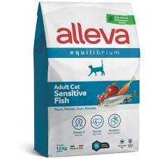 ALLEVA® Equilibrium Sensitive Fish Adult - пълноценна храна за пораснали чувствителни котки, с риба, Италия - 1,5 кг P61034