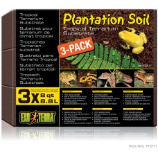 Exo Terra PLANTATION SOIL - BRICK / TROPICAL TERRARIUM SUBSTRATE - кокосова постелка - 3 х 8,8 литра, ГЕРМАНИЯ - PT2771