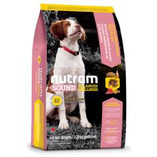 S2 Nutram Sound Balanced Wellness® Natural Puppy Food, Рецепта с Пилешко, Овес и Зелен Грах, за подрастващи кученца от СРЕДНИ ПОРОДИ от 6 до 52 седмици 13,6 кг