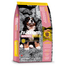 S3 Nutram Sound Balanced Wellness® Large Breed Natural Puppy Food, Рецепта с пилешко, лющен ечемик, грах и моркови, за подрастващи кученца от ЕДРИ ПОРОДИ от 3 до 18 месецa, Канада - 13,6 кг