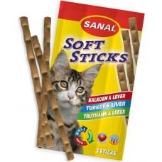Softsticks SANAL Cat Turkey & Liver- меки пръчици с пуйка и черен дроб, 3 бр, Холандия SC3840