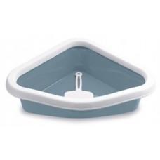 SPRINT CORNER - Открита ъглова котешка тоалетна с борд и включена лопатка - 40х56х14H см, STEFANPLAST Италия