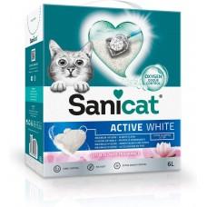 Sanicat Active White Lotus - котешка тоалетна висококачествен бял бентонит - аромат на цветя - 10 литра