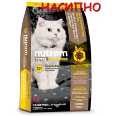 T24 Nutram Total Grain-Free® Trout and Salmon Meal Recipe Cat Food, Натурална котешка рецепта БЕЗ зърно с Пъстърва и Сьомга, Приготвена за котки и котенца НАСИПНО
