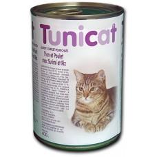 TUNICAT - РИБА ТОН, ПИЛЕ, РАЦИ И ОРИЗ - пълноценна консерва за котки, Испания - 400 гр