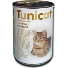 TUNICAT - РИБА ТОН, ПИЛЕ, САРДИНИ И ОРИЗ - пълноценна консерва за котки, Испания - 400 гр