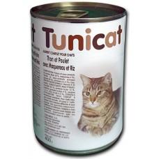 TUNICAT - РИБА ТОН, ПИЛЕ, СКУМРИЯ И ОРИЗ - пълноценна консерва за котки, Испания - 400 гр