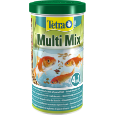 Tetra Pond Multi Mix - пълноценна хранителна комбинация, състояща се от четири вида храни, които отговарят на нуждите и хранителните навици на различни видове езерни риби - енергия, жизненост и силна имунна система - 1 литър