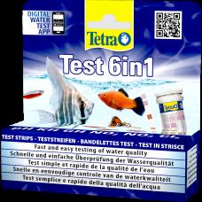 Tetra Test 6in1 - тест лентите за бърза и лесна проверка на качеството на водата - измерват pH, карбонатна твърдост (KH), обща твърдост (GH), нитрити (NO2-), нитрати (NO3-) и хлор (Cl2) - 25 бр