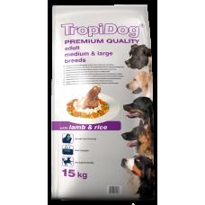 TROPIDOG PREMIUM ADULT DOG СРЕДНИ ПОРОДИ КУЧЕТА С АГНЕ И ОРИЗ 15kg
