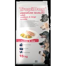 TROPIDOG PREMIUM ADULT DOG СРЕДНИ и ЕДРИ ПОРОДИ КУЧЕТА С ПУЙКА И ОРИЗ 15 kg