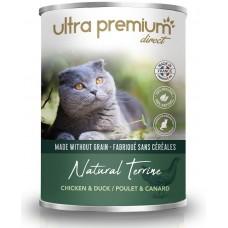Ultra Premium Direct Natural Terrine chicken - Мокра храна за пораснали котки с пиле и патица, 70% месо и месни съставки, без зърно - 0,400 кг, Франция WET08