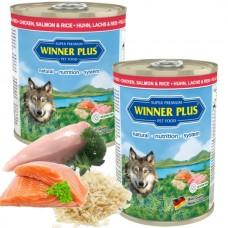 WinnerPlus Super Premium Menu chicken, salmon and rice - консерва с пилешко месо, сьомга и ориз е пълноценна храна за кучета от всички породи, Германия - 400 гр