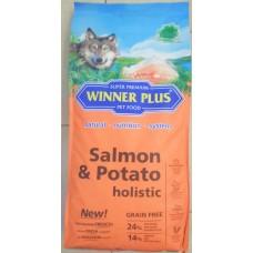 WinnerPlus Salmon & Potato holistic - холистична храна за пораснали, чувствителни кучета БЕЗ ЗЪРНО, за всички породи, Германия - 12 кг