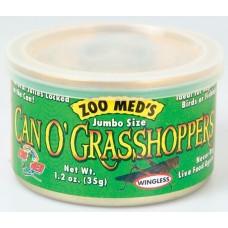 Zoo Med Can'O Grasshoppers - консервирани тревни скакалци без крила 35 гр. (20 бр XL) – подходящи за влечуги, птици и риболов