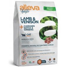 ALLEVA® HOLISTIC (ADULT CAT) LAMB & VENISON + CANNABIS SATIVA & GINSENG - пълноценна храна за пораснали котки над една година, Италия - 1,5 кг  P0275H