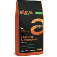 ALLEVA® NATURAL (PUPPY MEDIUM) CHICKEN & PUMPKIN - храна за подрастващи кучета, както и за бременни и кърмещи кучета от средни породи, Италия - 12 кг P00213