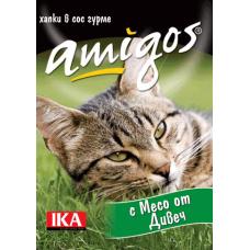 AMIGOS – МЕСО ОТ ДИВЕЧ, пълноценна храна за израснали котки - консерва, АВСТРИЯ - 415 гр
