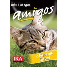 AMIGOS – МЕСО ОТ ПТИЦИ, пълноценна храна за израснали котки - консерва, АВСТРИЯ - 415 гр