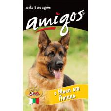 AMIGOS – МЕСО ОТ ПТИЦИ, пълноценна храна за израснали кучета - консерва, АВСТРИЯ - 1240 гр