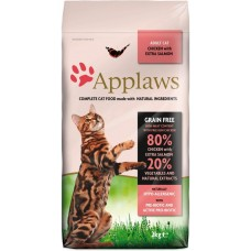Applaws Adult, Chicken with Extra Salmon GRAIN FREE - храна за котки над 1 година с 80% пиле и риба сьомга 2 кг