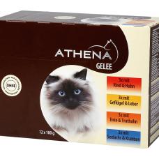ATHENA – ПАУЧОВЕ МУЛТИПАК ЖЕЛЕ, 3 х говеждо и пилешко месо, 3 х домашни птици и черен дроб, 3 х патица и пуйка, 3 х морска треска и раци, пълноценна храна за израснали котки, Германия - 12 х 100 гр