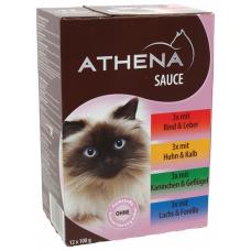 ATHENA – ПАУЧОВЕ МУЛТИПАК СОС, 3 х говеждо и черн дроб, 3 x пиле и теле, 3 x дивеч и домашни птици, 3 х сьомга и пъстърва, пълноценна храна за израснали котки, Германия - 12 х 100 гр