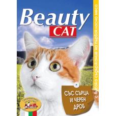 BEAUTY CAT – СЪРЦА И ЧЕРЕН ДРОБ, пълноценна храна за израснали котки, консерва, Австрия - 415 гр