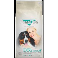 BONACIBO DOG ADULT FORM SENIOR / LIGHT - суха храна за пораснали кучета от всички породи, с наднормено тегло или за възрастни кучета над 9 години - с пиле, аншоа и ориз, Турция - 15 кг