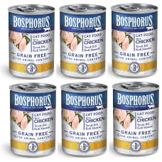 BOSPHORUS CAT FOOD with CHICKEN GRAIN FREE - КОМПЛЕКТ 6 бр консерви за котки с вкусно, прясно пилешко БЕЗ ЗЪРНО, 6 x 415 гр Турция