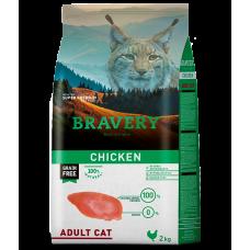 BRAVERY CHICKEN CAT ADULT, натурална, хипоалергенна храна, БЕЗ ЗЪРНО за пораснали котки от всички породи над 1 година, с пилешко месо, Испания - 2 кг