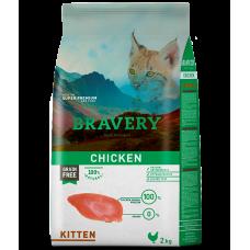 BRAVERY CHICKEN KITTEN, натурална, хипоалергенна храна, БЕЗ ЗЪРНО за подрастващи котенца от всички породи до 1 година, с пилешко месо, Испания - 2 кг