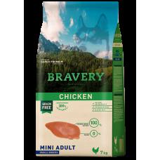 BRAVERY CHICKEN ADULT DOG MINI, натурална, хипоалергенна храна, БЕЗ ЗЪРНО за пораснали кучета от дребни и мини породи над 1 година, с пилешко месо, Испания - 2 кг