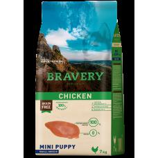 BRAVERY CHICKEN PUPPY MINI, натурална, хипоалергенна храна, БЕЗ ЗЪРНО за подрастващи кучета от дребни и мини породи до 1 година, с пилешко месо, Испания - 2 кг