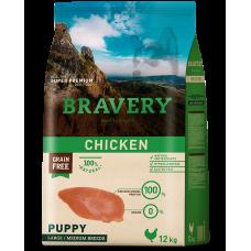BRAVERY CHICKEN PUPPY MEDIUM & LARGE, натурална, хипоалергенна храна, БЕЗ ЗЪРНО за подрастващи кучета от средни и едри породи до 1 година, с пилешко месо, Испания - 12 кг