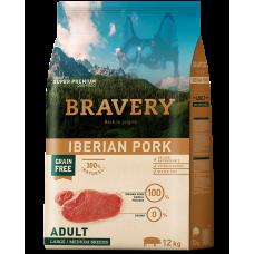 BRAVERY IBERIAN PORK ADULT DOG MEDIUM & LARGE, натурална, хипоалергенна храна, БЕЗ ЗЪРНО за пораснали кучета от средни и едри породи над 1 година, с иберийско свинско месо, Испания - 12 кг