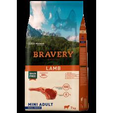 BRAVERY LAMB ADULT DOG MINI, натурална, хипоалергенна храна, БЕЗ ЗЪРНО за пораснали кучета от дребни и мини породи над 1 година, с агнешко месо, Испания - 2 кг