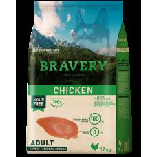 BRAVERY CHICKEN ADULT DOG MEDIUM & LARGE, натурална, хипоалергенна храна, БЕЗ ЗЪРНО за пораснали кучета от средни и едри породи над 1 година, с пилешко месо, Испания - 12 кг