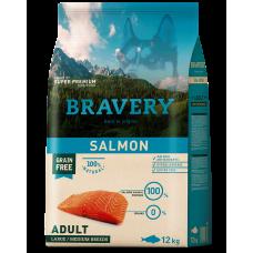 BRAVERY SALMON ADULT DOG MEDIUM & LARGE, натурална, хипоалергенна храна, БЕЗ ЗЪРНО за пораснали кучета от средни и едри породи над 1 година, със сьомга, Испания - 12 кг